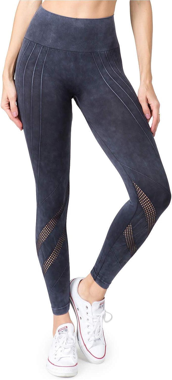 YELETE Women's High Waist Honeycomb Mesh Seamless Ankle Active Leggings Pants