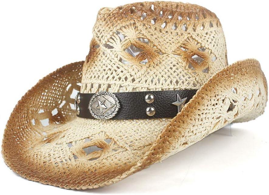 HHHCM-US Men's Wide Brim discount In stock Straw Cowgirl Retro Hat Cowboy Western