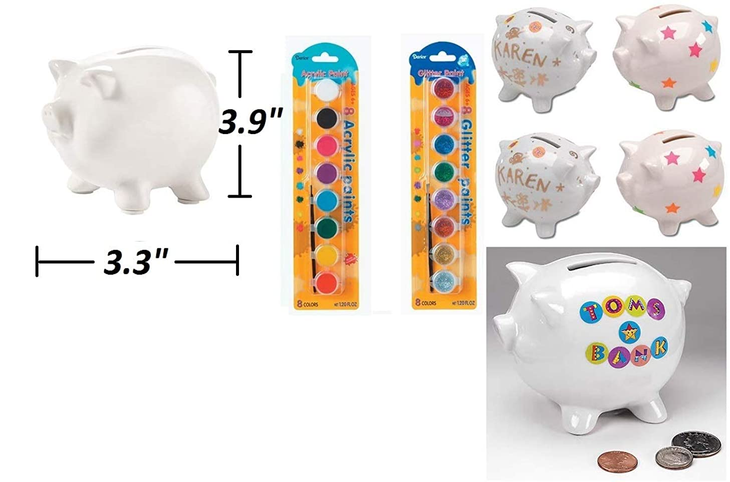 J&J's ToyScape 6 Pack Ceramic White Piggy Bank with 16 Acrylic & Glitter Paint Pots | DIY Craft Ideas for Kids, Summer Fun Art, School Projects