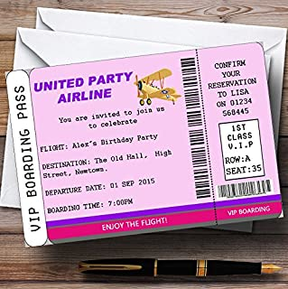 Pink Vip Plane Boarding Pass Ticket Theme Personalized Birthday Party Invitat.
