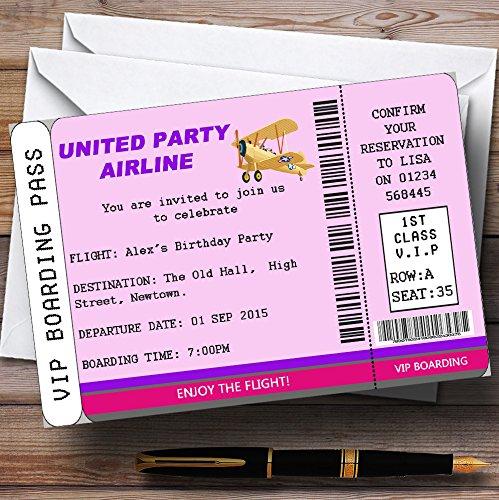 10 x Uitnodigingen Roze VIP Vliegtuig Boarding Pass Ticket Thema Gepersonaliseerde Verjaardagsfeestje nodigt elke bewoording uit