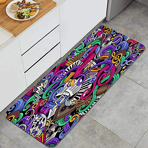 LONSANT Küchenteppiche,sic Themed Hand gezeichnete abstrakte Instrumente Mikrofon Trommeln Keyboard Stradivarius,rutschfestes Küchenmatten und Teppichset Gummiunterlage Fußmatte Set 45X120CM
