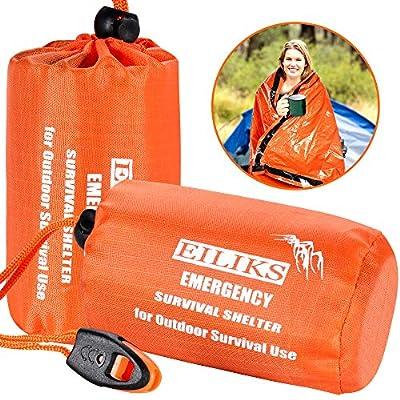 EILIKS Emergency Sleeping Bag Camping Bivy Sacks, Waterproof Lightweight Thermal Life Tent Emergency Survival Shelter, Survival Gear for Outdoor Adventure Camping Hiking (2 Pack)
