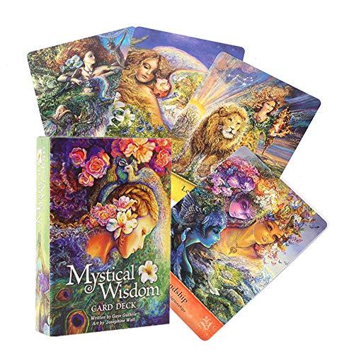 Neue 64pcs Tarotkarten, Orakelkarten Der Mystischen Weisheit,Englisch,Wahrsagende Karte des Mysteriösen Schicksals, Deckbrettspiele Für Teenager Der Partyfamilie Fun Table Cards Game Lovers