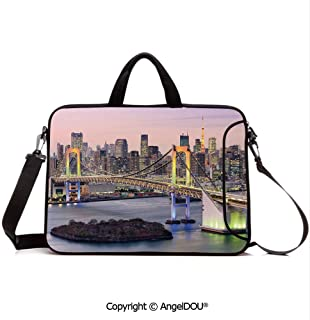 AngelDOU Neoprene Laptop Shoulder Bag Case Sleeve with Handle and Extra Pocket Tokyo Japanese Capital City Rainbow Bridge Skyscrapers Ultra Modern Town Scene D Compatible with MacBook/Ultrabook/HP/A