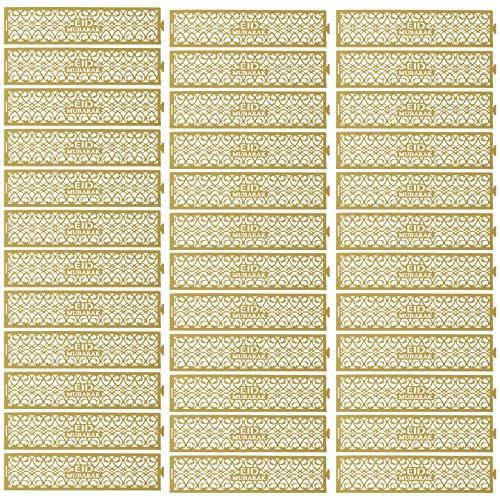 Amosfun Serviettenringe Eid Mubarak Papier Hohle Muslim Ramadan Serviettenhalter Serviette Schnallen für Islamisch Eid Party Esstisch Dekoration 36 Stück