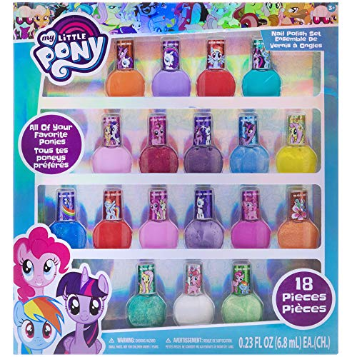 My Little Pony Kids Washable Super Sparkly Peel-Off Nail Polish Deluxe Set for Girls, 18 Colors
