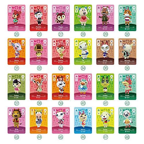 TPLGO ACNH NFC Lot de 51 mini cartes de jeu pour Switch/Switch Lite/Wii U/Nouvelle 3DS avec étui de rangement
