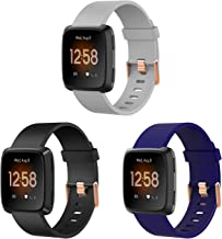 3 Pack Large and Small Bands with Rose Gold Watch Clasp Compatible with Fitbit Versa / Versa 2 / Versa Lite / Versa SE Sma...