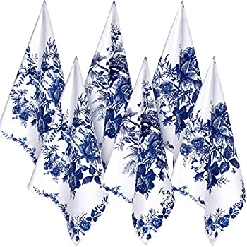 Geiserailie 6 Pieces Chinese Style Kitchen Tea Towels Chinoiserie Dish Towels Animal Kitchen Bar Towels Peacock Elk Flower Large Plate Cloth Set Blue and White