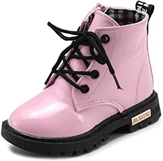 WUIWUIYU Toddlers Boys Girls Fashion Lace Up Zip-Up Short Ankle Boots Cute Snow High-Top Booties