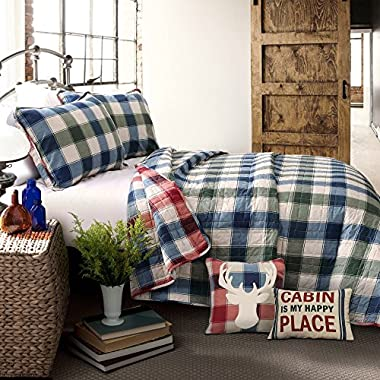 OSVT 5 Piece Red Blue White King Quilt Set, Plaid Pattern Themed Reversible Bedding Rustic Cabin Cottage Warm Cozy Winter Modern Stylish Geometric Trendy Deer Lodge Tartan Checkered Green, Polyester
