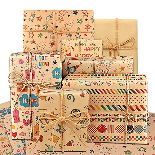 14 Stück Geschenkpapier, DIAOCARE Kraft Geschenkpapier Geburtstag, 70 * 50 cm braunes gefaltetes Papier mit Jutesaiten, Aufklebern und Etiketten für alle Geburtstagsanlässe