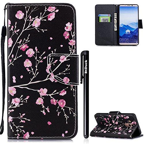 Handyhülle Huawei Mate 10 Pro,BtDuck Ultra Slim Weich Silikon Cover Innere Stand Hülle mit Magnet Lederhülle Flip Case Tasche Huawei Mate 10 Pro Retro Blume