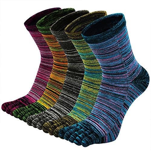 ZFSOCK Zehensocken Herren Baumwolle Five Finger Socken Männer Bunte Socken mit Zehen für Laufen Arbeit Sports, EU 39-44, 5 Paare