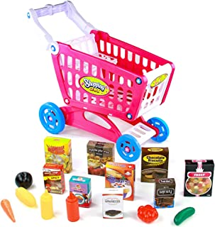 Fajiabao Shopping Cart with Wheels Pretend Play Food Kitchen Grocery Toys Plastic Pink Trolley Supermarket Playset for Kids Toddlers Boys Girls 3 4 5 6 Years Old