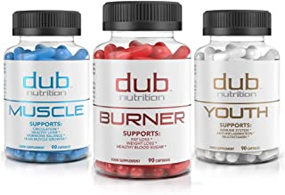 Burner, Muscle, Youth Combo by dub Nutrition   All Natural Fat Burner, Muscle Workout Recovery, Immune Boost Supplement Package   Most Advanced Formula on The Market   90 Capsules per Bottle