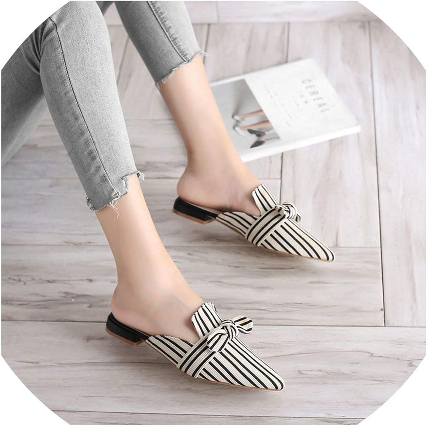 YOU LOOK PRETTY Flats Women shoes Butterfly-Knot Pointed Toe Slippers Slip On Outdoor Slippers