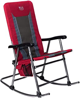 Timber Ridge Smooth Glide Lightweight Padded Folding Rocking Chair for Outdoor and Support up to 300lbs, Lava