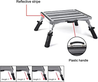"Pr1me 19"" x 14.5"" Extra Size RV Folding Step Stool, 440lbs, Height Adjustable, Aluminium with Reflective Stripe, Anti-Slip Surface and Extra Grip"