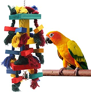 TRUE LOVE Parrot Chew Toys, Edible Chew, Nibbling Keeps Beaks Trimmed, Multicolored Wooden Blocks Attract Pet's Attention, Great for Parakeet, Macaws, African Greys and Conures Bird