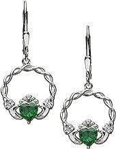 Silver Claddagh Earrings CZ Drop Celtic Weave Made in Ireland