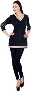 Devaleena Creations Black Cotton Kurta with Sleeves Embroidery on the Elbow Part-For Ladies