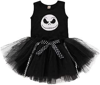 jin&Co Toddler Baby Girls 2PCS Skeleton Romper Tops +Tutu Skirt Funny Halloween Costume Dress Up Outfits Set