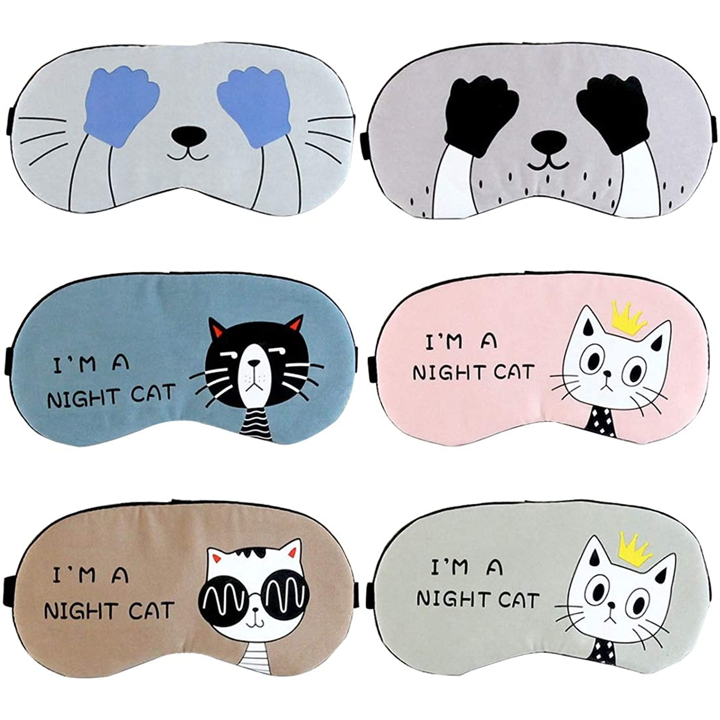 通信網椅子立場注意漫画猫シェーディング睡眠美容睡眠アイマスクソフトパッド入り睡眠旅行シェードカバー残りリラックス睡眠目隠しマスク