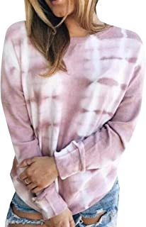 Miracle Womens Soft Loose Long Sleeve Comfy Tie-dye Tunic Top Blouse T-Shirt T Shirt