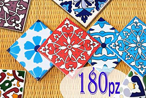 180 Mattonelle MISTE in ceramica smaltata. Pacco speciale contenente 180 mattonelle decorate 10 X 10 cm spessore 0,6 cm - Mattonelle Tunisine realizzate con Serigrafia Artigianale