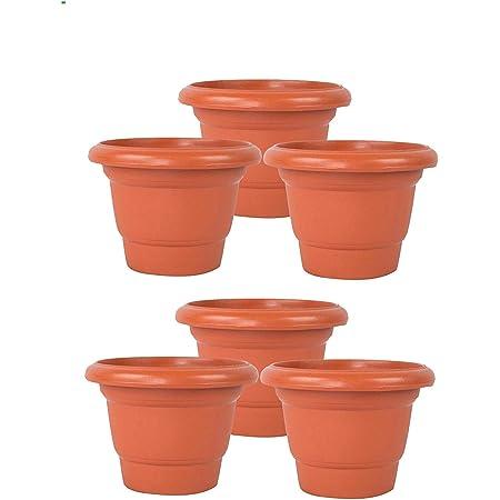 JRM Plastic Pot Brown ,25x21 cm, 6 Pieces