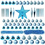 Lulu Home Assorted Christmas Tree Ornaments Set, 75 Pieces Blue Shatterproof Balls Xmas Seasonal Decorations for Christmas Tree