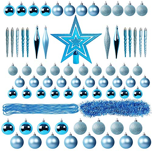 Lulu Home Assorted Christmas Tree Ornaments Set, 75 Pieces Blue Shatterproof Balls Xmas Seasonal Decorations for Christmas Tree