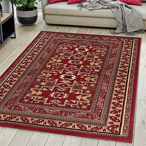Tappeto Orientale Salotto a Pelo Corto Rosso Bordeaux bordò 120 x 170 cm Classico Persian Design