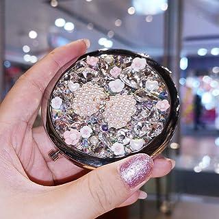 Makeup Mirror, Rhinestone Folding, Mini Portable Vanity Mirror, Bow Shape Detazhi