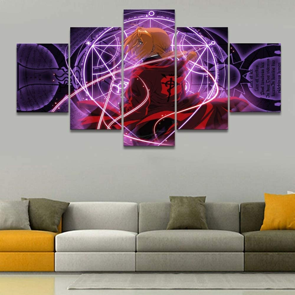 5 Canvas Painting Wall Art Framed Canvas Printed Wall Art Picture Artwork 5 Pieces Anime Full Metal Alchemist Home Decor Bedroom Painting Poster Frame DFXIAO