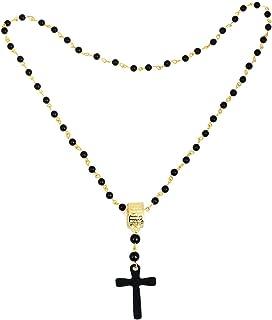 SOLDOUT™ Black Beads Cross Necklaces Pendants Gold Metal Vintage Retro Necklaces New Long Necklace Women Chain Gift (38 CMS)