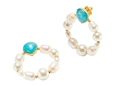 Kate Spade New York Pearl Drops Hoops Earrings (Turquoise) Earring