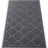 LuxStep Door Mat Large 24x36 Inch Indoor Outdoor Doormat, Non-Slip Low-Profile Design Floor Mat, Durable Trap Dirt and Dust Front Door Welcome Mat for Entryway,Patio,Garage,High Traffic Areas, Grey
