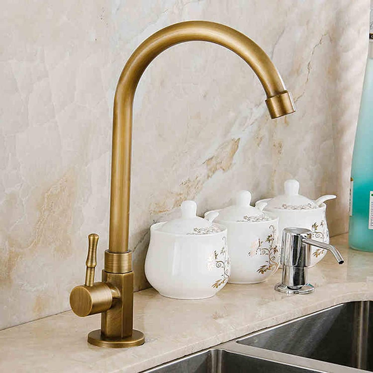 FZHLR Antique Brass Kitchen Faucet Kitchen Sink Tap Basin Faucet Cold-Water Tap 360 Swivel Spout Basin