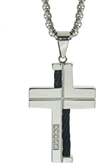 AX Jewelry Mens Natural Diamond Cable Cross Pendant in Stainless Steel (0.10 carats)