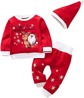 Baby Boys Girls Clothes Set, Toddler Kids Christmas Santa Printed Long Sleeve Tops+Pant Pajamas Sleepwear Outfits