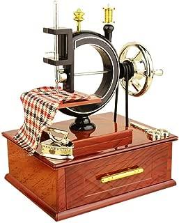 Yeefant Vintage Carved Wood Mechanism Wind Up Music Box Mini Sewing Machine Style Mechanical Birthday Gift Table Decor Christmas Birthday Valentine's Day Music Box Company Phantom The Opera Musical
