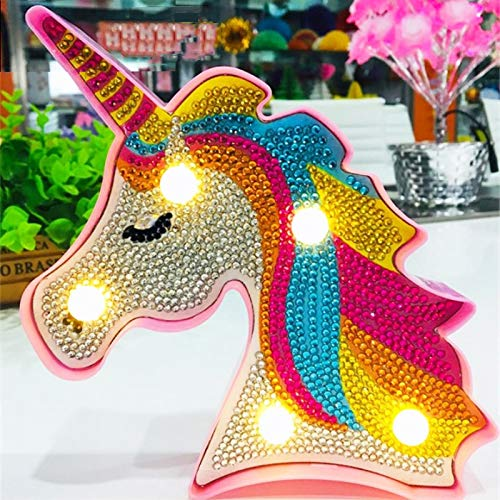TROYSINC Diamond Painting LED Luz Decorativa, DIY Unicornio Diamond Painting Luz nocturna para niños Dormitorio Luz nocturna Decoración