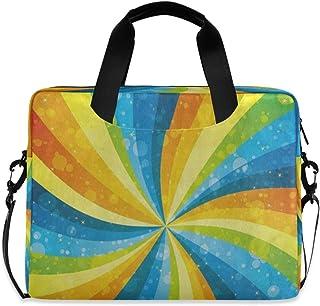 """Rainbow Color Stripe Dot Laptop Carrying Case Shoulder Bag Briefcase W/Strap Women Men 15.6"""" 16"""""""