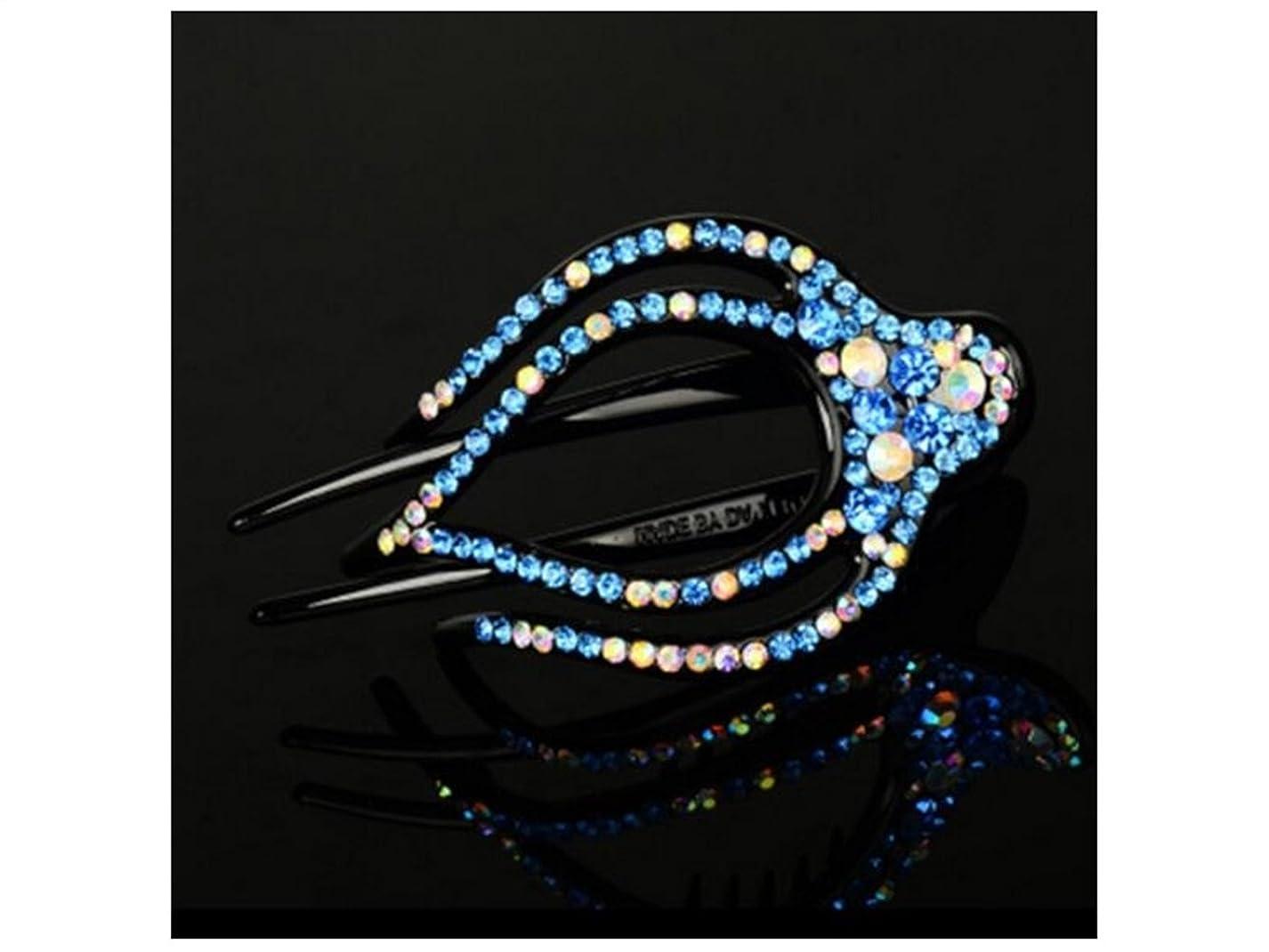 甲虫肥満ゴムOsize 美しいスタイル 女性のラインストーンラージヘアピンクロークリップ大人のヘアヘアアクセサリー(ブルー)