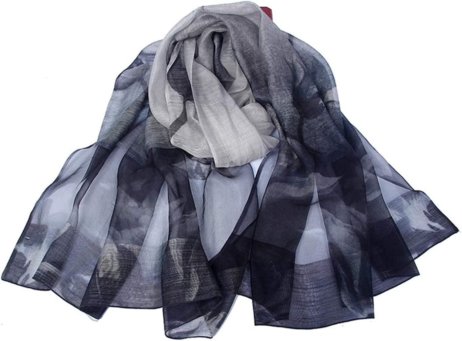 CEFULTY Printed Silk Wool Scarf Spring and Summer Thin Sunscreen Cool Shawl for Women (color   bluee)