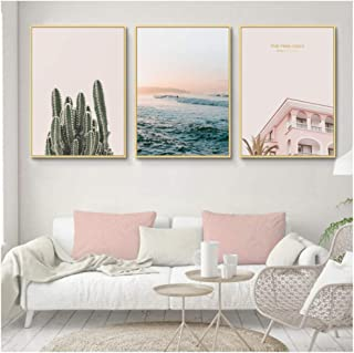 Hxjlm Landscape Sea Wave Canvas Prints Tropical Plants Canvas Painting Pink Wall Art Pictures For Living Room Home Decor (...