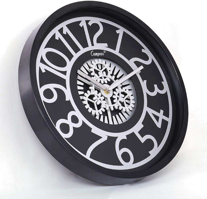 SPFOZ Reloj de Parojo silencioso, Sala de Estar, Columpio Creativo, Dormitorio Simple, Mesa para Colgar en la Parojo, Moderno Reloj de Cuarzo Reloj de Parojo (Color   Negro)